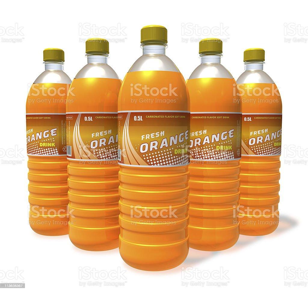 Set of orange soda drinks in plastic bottles royalty-free stock photo