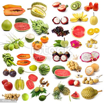 Set of organic fruit, Fruit isolated