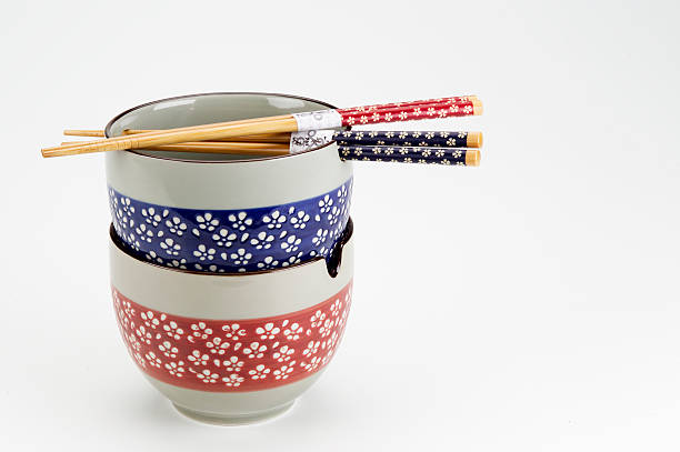 Set of oriental bowls stock photo