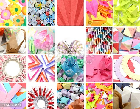 Set of origami paper pattern, texture collection