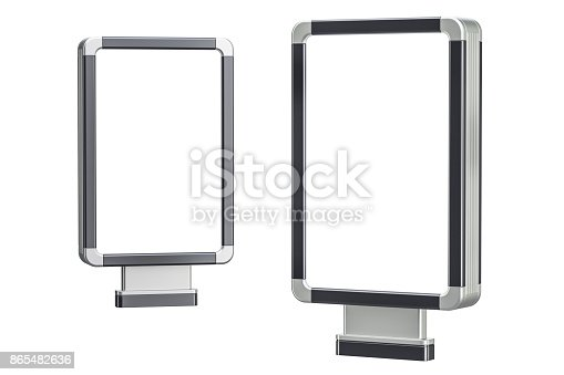 istock Set of outdoor light boxes, billboards. 3D rendering isolated on white background 865482636