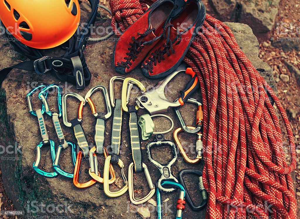 Set of outfit for climbing stock photo