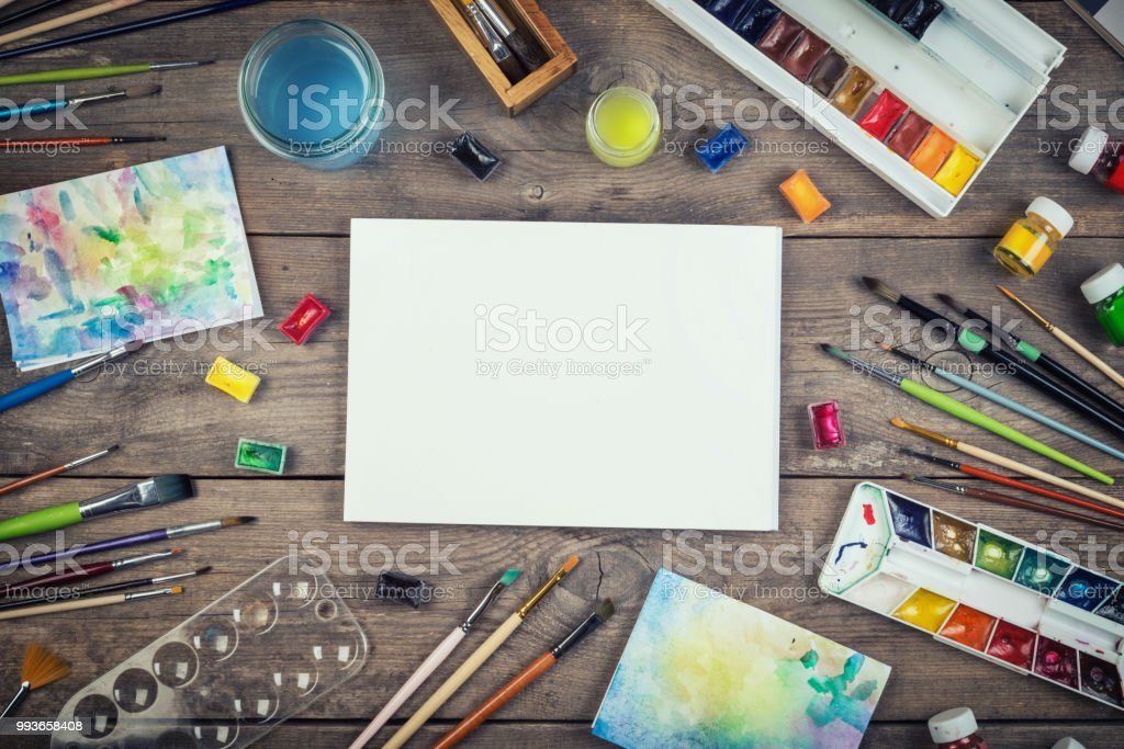 Set of painter accessories. stock photo