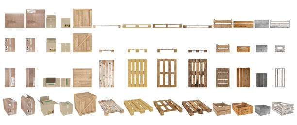 a set of pallets, boxes and cartons. top view, side view, front view and perspective. isolated on white background. - pallet foto e immagini stock
