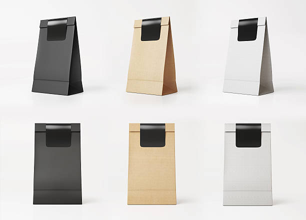 Set of paper bag templates stock photo