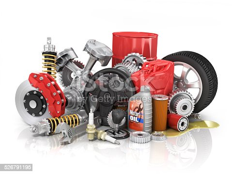 istock Set of parts of car. 3d render 526791195
