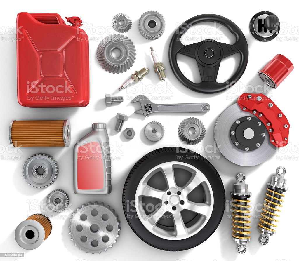 Set of parts of car. stock photo