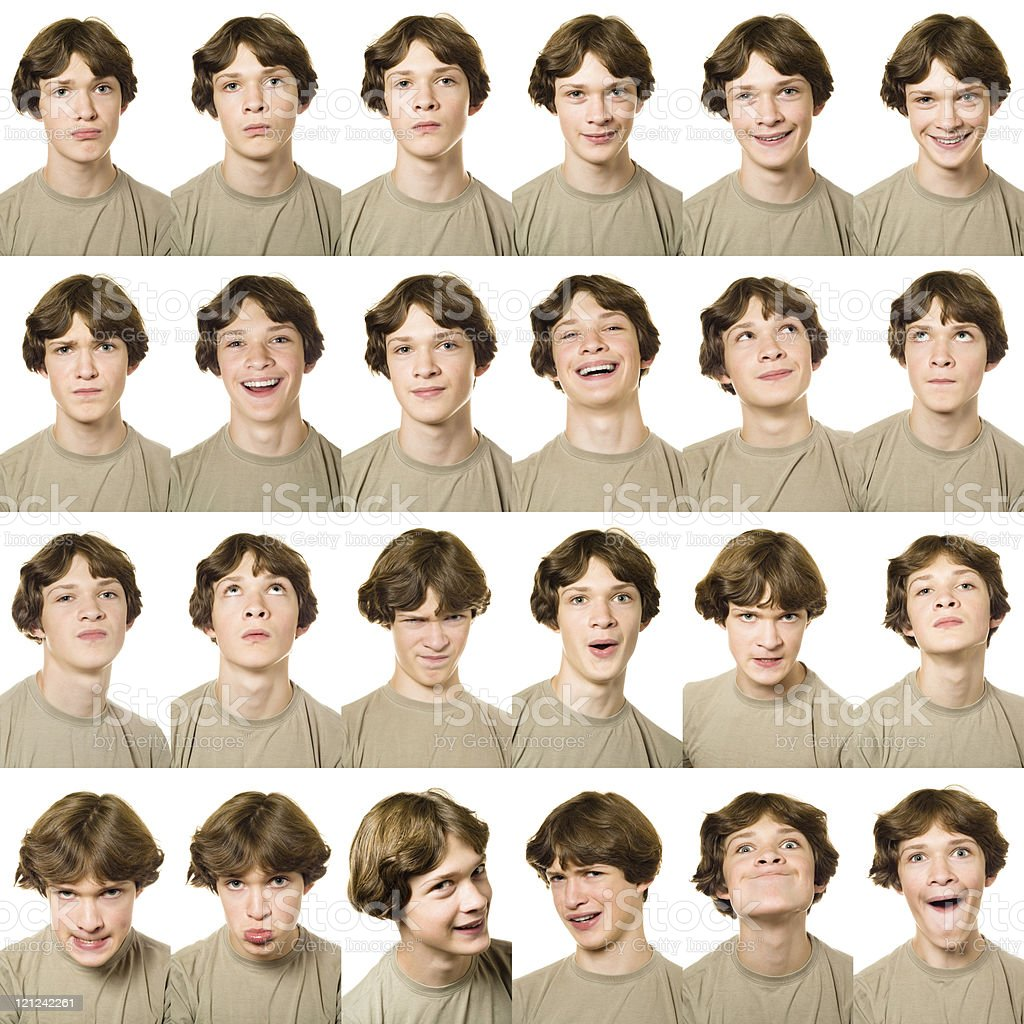 Set of passport pictures each showing a different expression royalty-free stock photo