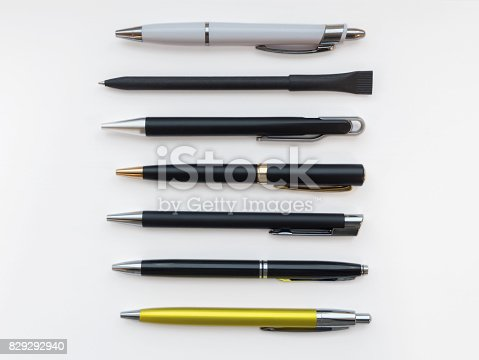 istock Set of pens for branding, isolated on white background 829292940