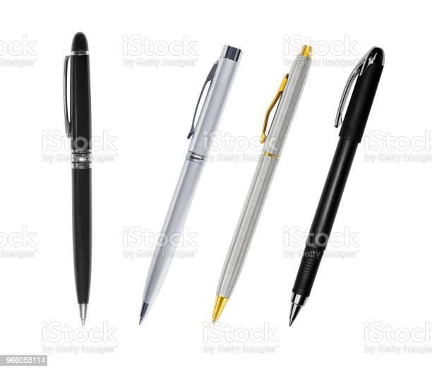 Uppsättning Av Pennor Isolerad På Vit Bakgrund-foton och fler bilder på Blyertspenna
