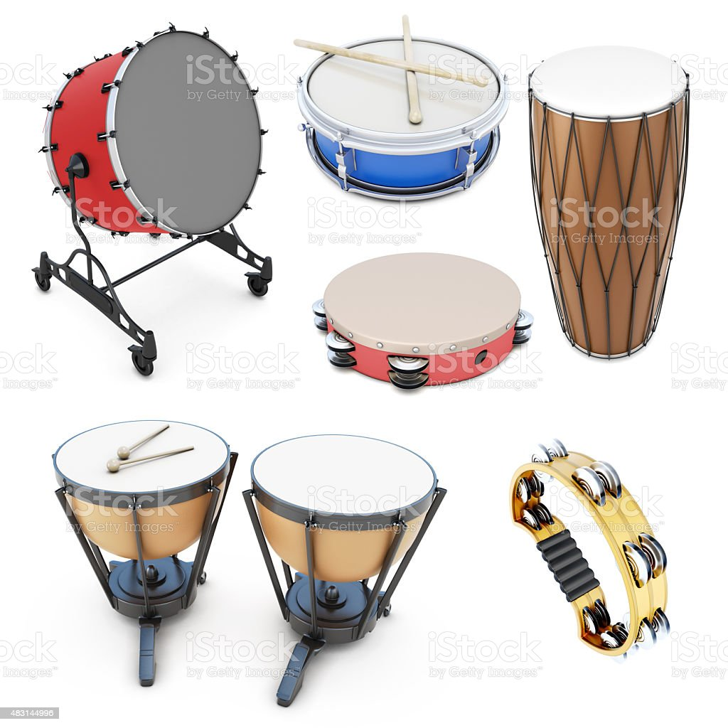Set of percussion instruments stock photo