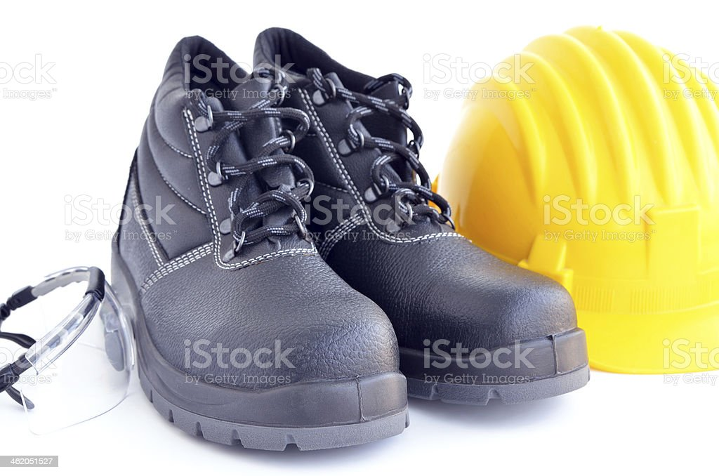 Set of personal protective equipment for industrial use stock photo