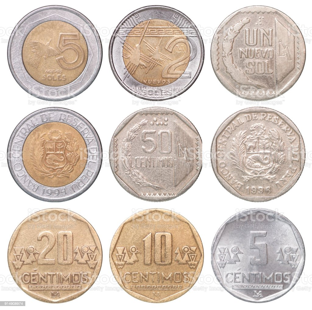 set of Peruvian coins stock photo
