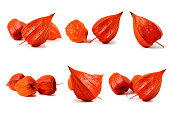 Set of Physalis fruit. Isolated on a white background.