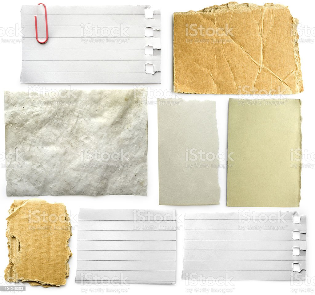 Set of pieces of different kinds of papers stock photo