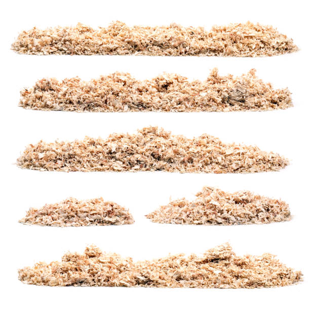 Set of pile of saw dust stock photo