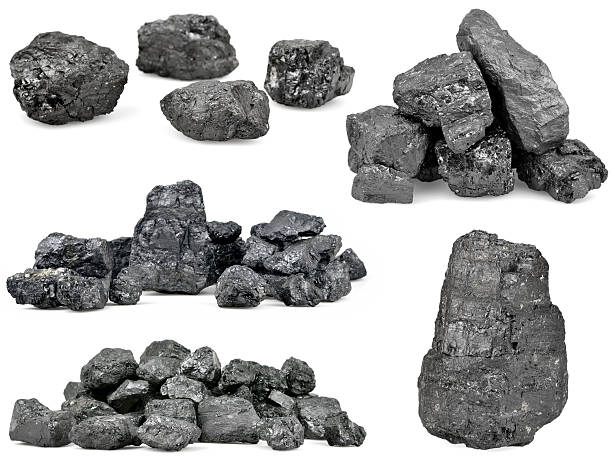 set of piles of coal isolated on white - bumpy stock pictures, royalty-free photos & images