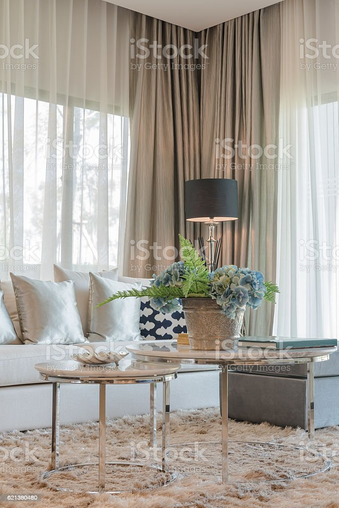 set of pillows and sofa in classic living room syle stock photo