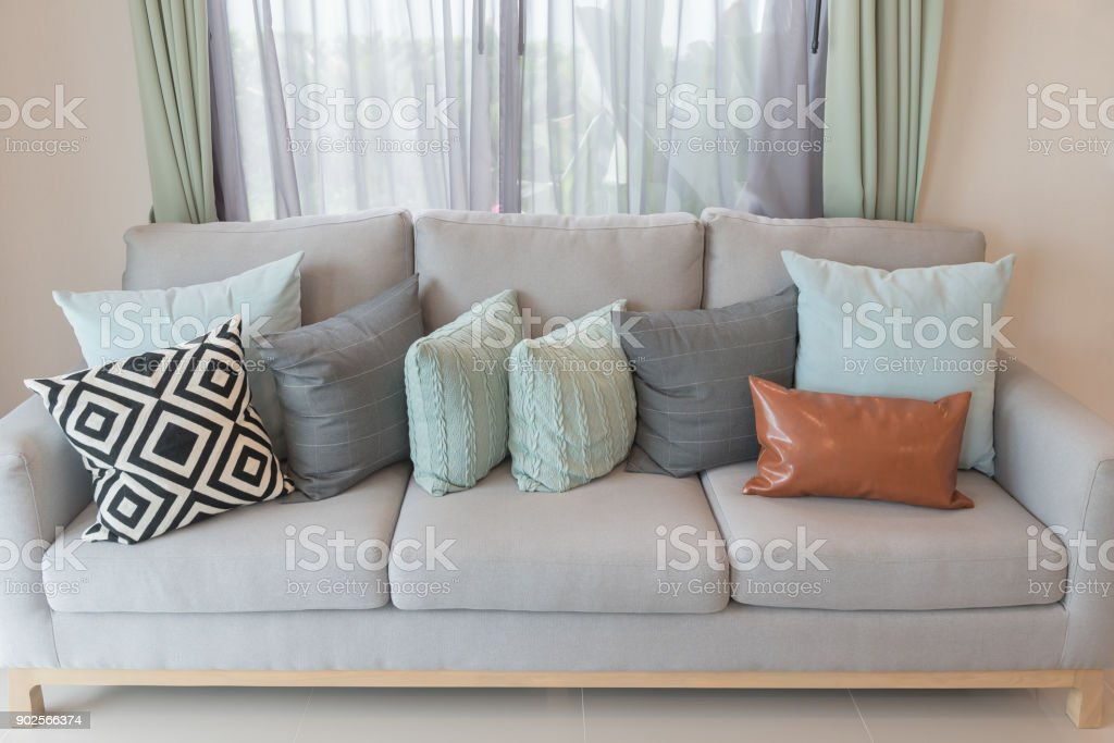 Image of: Set Of Pillows On Modern Cozy Grey Sofa Stock Photo Download Image Now Istock