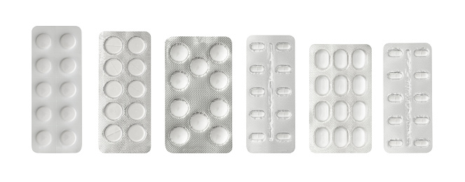 Set of pills in a plastic blister package, clipping path