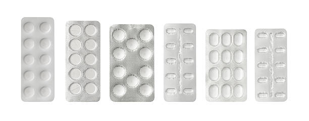 Set of pills in a plastic blister package stock photo
