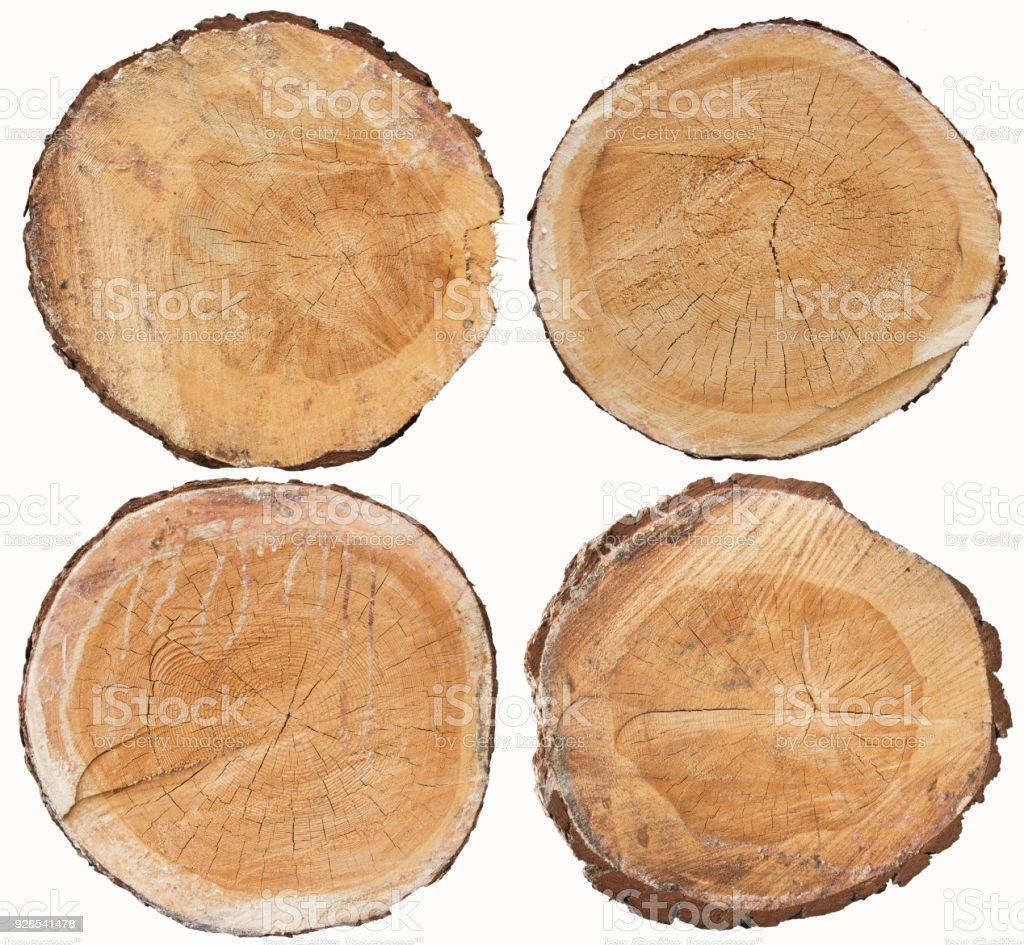 Conjunto de pino madera transversal aislado en blanco - foto de stock
