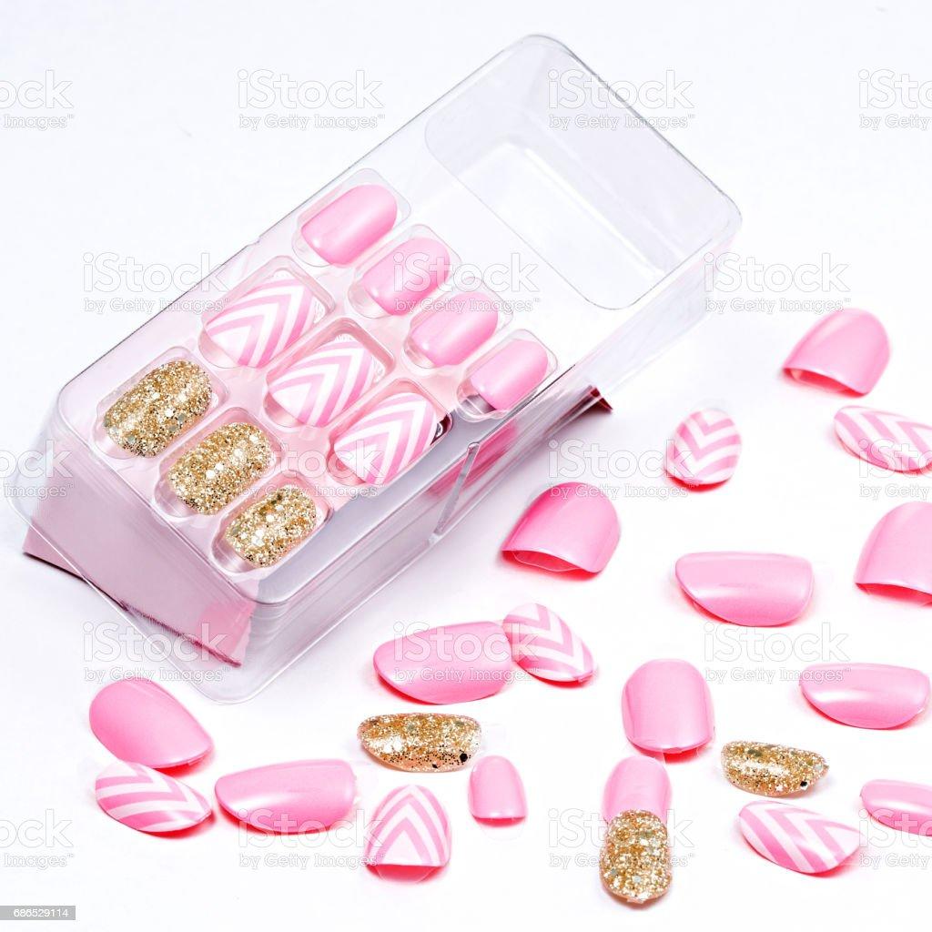 Set of pink false nails zbiór zdjęć royalty-free