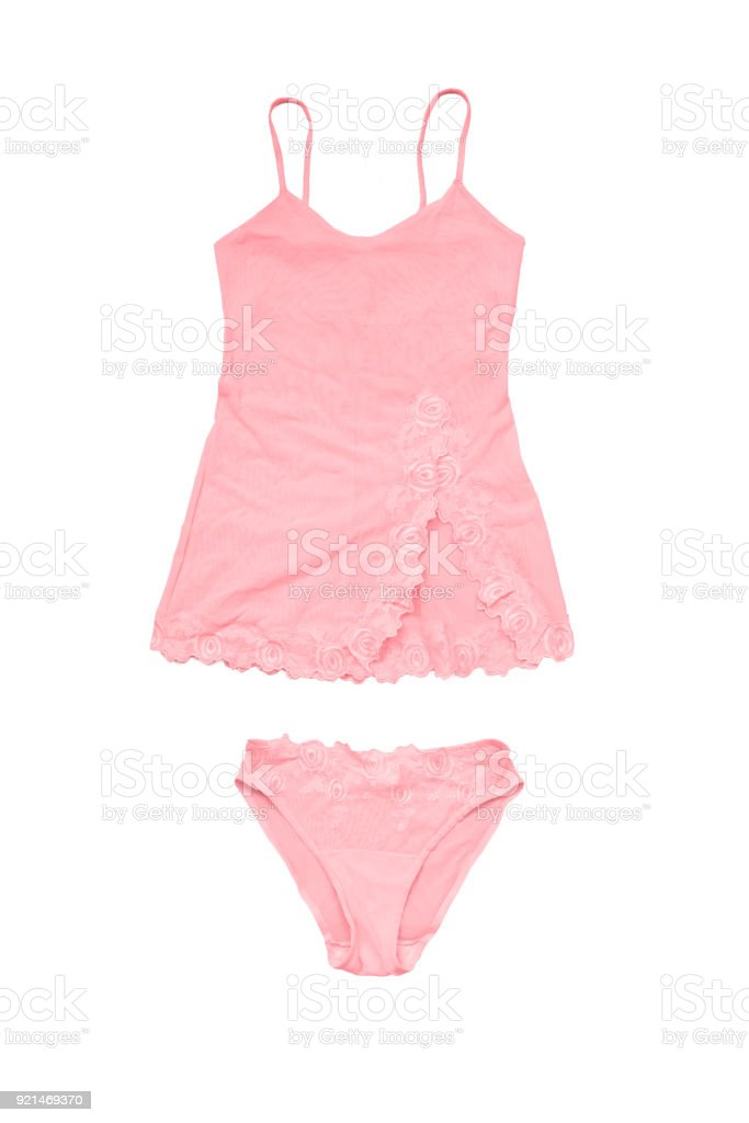 8f099a9b6c9a Set of pink rose negligee top and underpants isolated on white backgrund  royalty-free stock