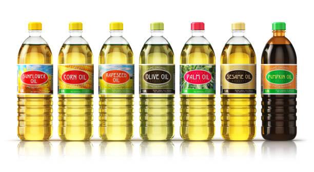 set of plasic bottles with vegetable cooking oils - oleo palma imagens e fotografias de stock