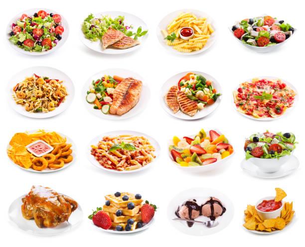 satz von platten von lebensmitteln isoliert auf weißem hintergrund - gesunde huhn pasta stock-fotos und bilder
