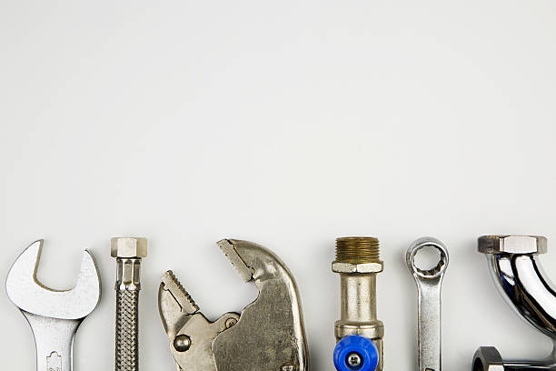 set of plumber tools stock photo