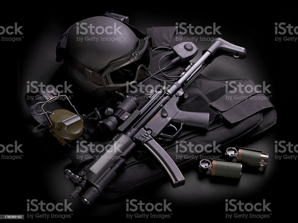 Set of police special forces weapons stock photo