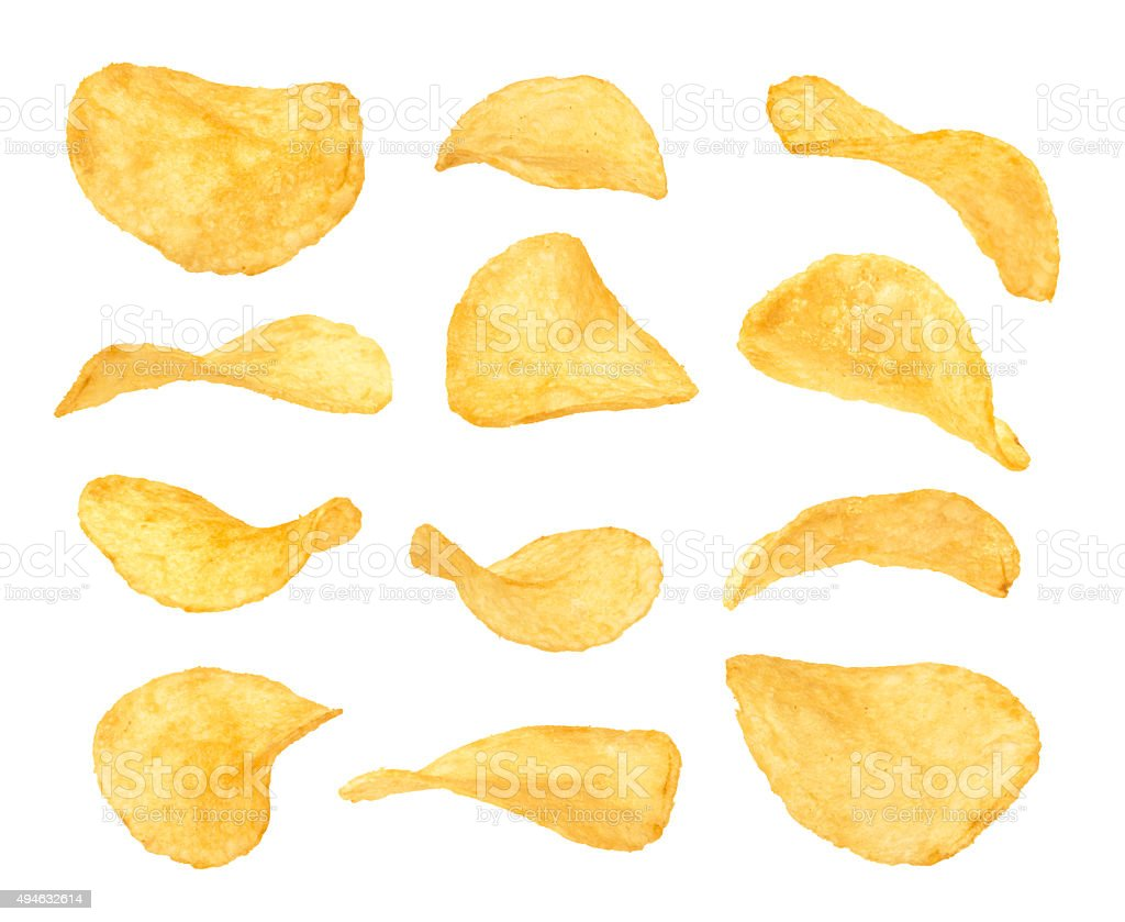 Conjunto de batata chips close-up - foto de acervo