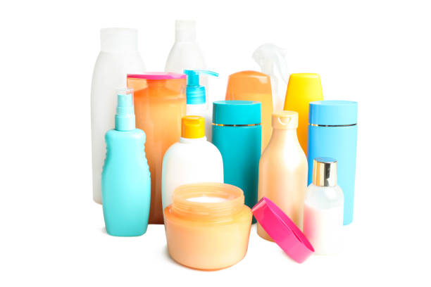 Set of products for hair and body care stock photo