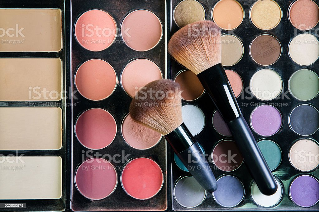Set of professional brushes for a makeup of eyes, stock photo
