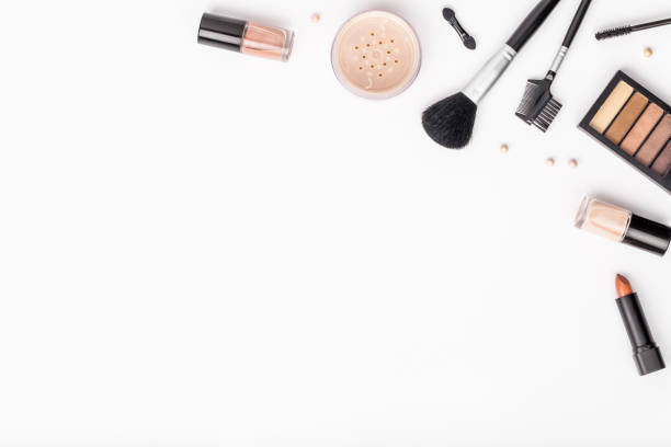 set of professional decorative cosmetics, makeup tools and accessory on white background with copy space for text. beauty, fashion, party and shopping concept. flat lay composition, top view - make up stock photos and pictures