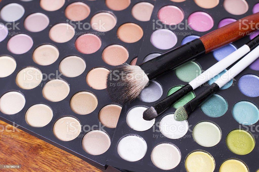 Set of professional eye shades wit brushes royalty-free stock photo