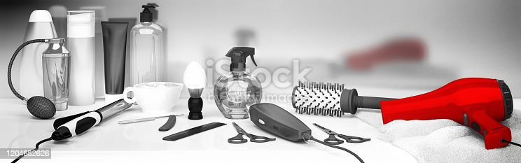 Set of professional hairdresser tools on light background. Table in barbershop. Working tool of barber master. 3D render