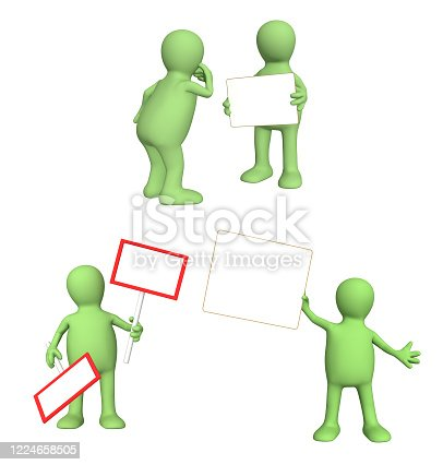 istock Set of puppets with information board 1224658505