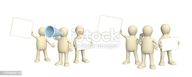 istock Set of puppets with information board 1224659216