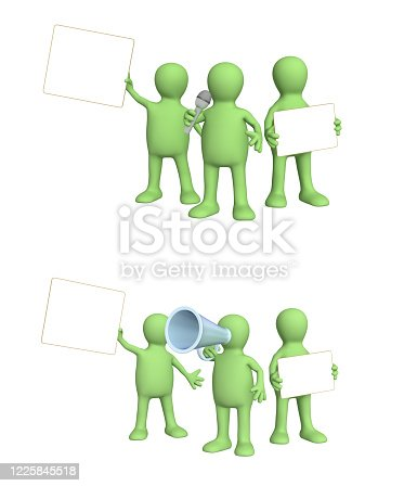 istock Set of puppets with information board 1225845518