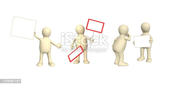 istock Set of puppets with information board 1226061187