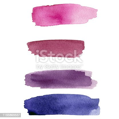 848933370 istock photo Set of purple and pink colorful watercolor blot on white paper. 1155865537