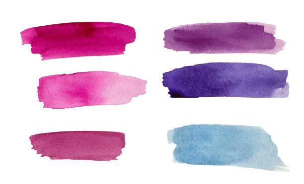 보라색, 파란색과 분홍색 다채로운 수채화 스플래시 세트 - 쓰다듬어 주기 뉴스 사진 이미지