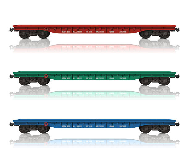 set of railroad flatcars - 火車車廂 個照片及圖片檔