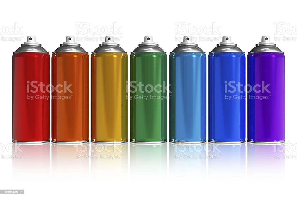 Set of rainbow paint spray cans stock photo