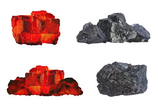istock Set of raw coal nugetts isolated on white background. Group of coal bars with red and black pieces in hot and cold condition. Red hot burning and cold black coal mine close up isolated on white. 1183193858