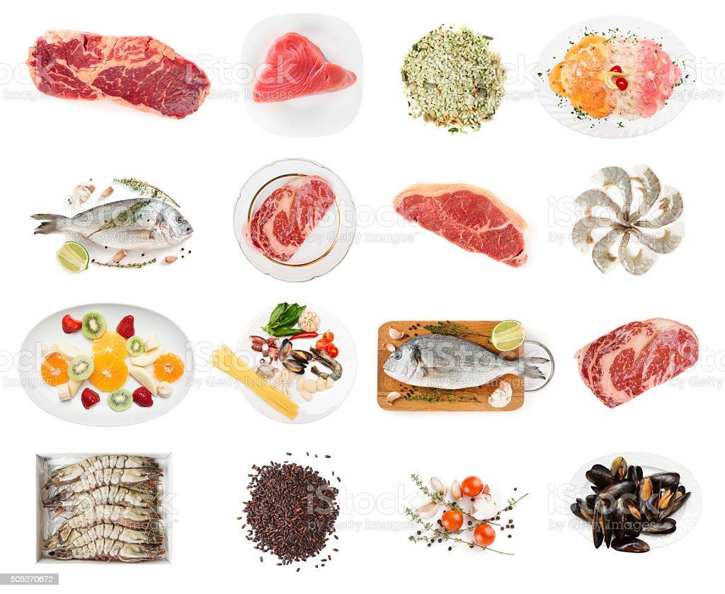 Conjunto de alimentos crus isolada no branco - foto de acervo