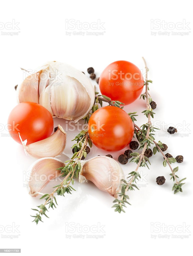 Set of raw ingredients isolated on white royalty-free stock photo