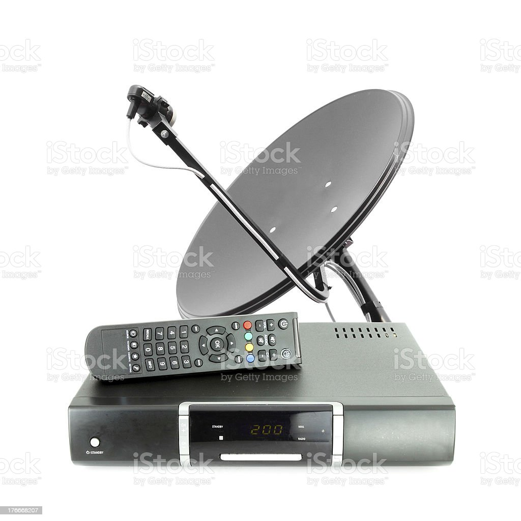 Set of receive box remote and dish antenna royalty-free stock photo